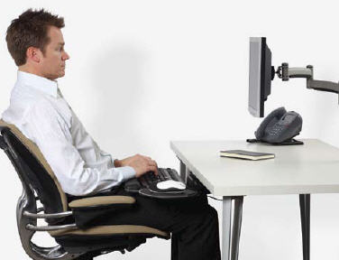 Place keyboard on lap for better desk posture.